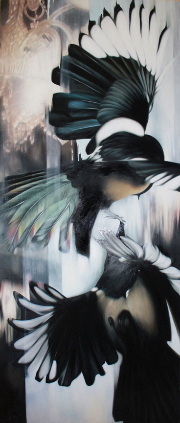 01z_A-Magpie-Fight-and-the-Lobby-of-the-Duck-and-Bunny-Inn-~-36x80-inches-~-available
