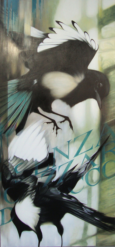 02_A-Magpie-Fight-and-the-Dressing-Room-of-Yves-st-Laurant-~-36x80-inches-~-available