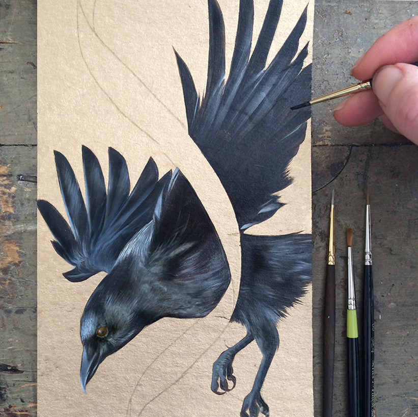 Crow on gold